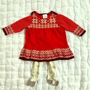Hanna Andersson Holiday Sweater Dress and Tights